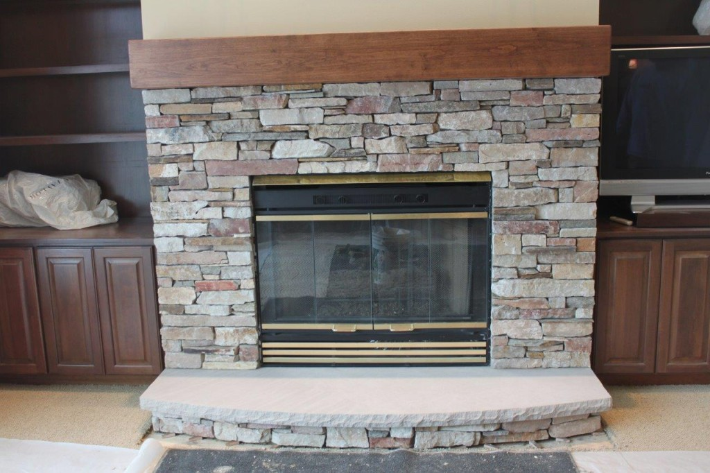 Chilton and FDL Rustic Ledge, Cinn Bark Blend  Drystack  Ind Limestone Hearth